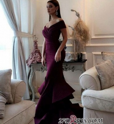 Burgundy off-shoulder Prom Dress UKes UK   Mermaid Evening Gowns With Ruffles_2