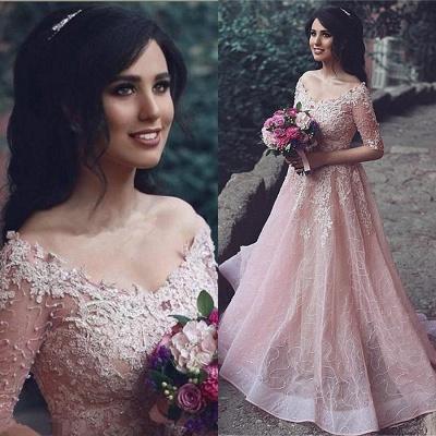 Tulle Pink A-Line Applique Half-Sleeve Long Prom Dress UKes UK_3
