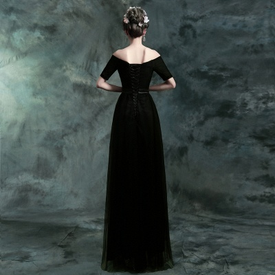 Modern Black A-line Prom Dress UK Floor-length Lace-up_4