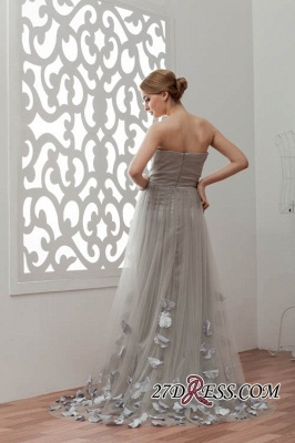 Strapless Floral Sexy A-Line Tulle Bridesmaid Dress UKes UK_2