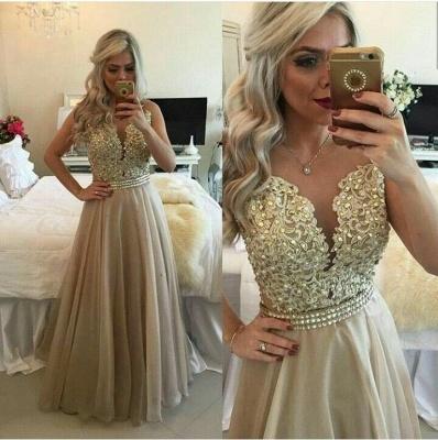Modest A-line Lace-Appliques Evening Dress UK   Floor-length Evening Gown_3
