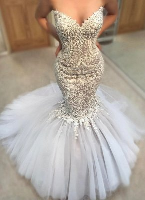 Delicate Appliques  Sexy Mermaid Wedding Dress | Sweetheart Neck Tulle Cheap Skirt Bridal Gowns_1
