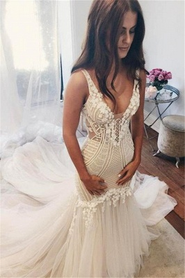 Sexy Mermaid  V-Neck Wedding Dresses UK Sleeveless Open Back Bridal Gowns with Buttons_1