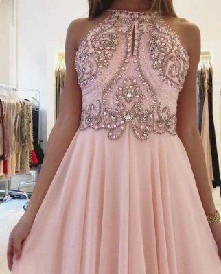 Pink Halter Long Prom Dress UK | Chiffon Evening Dress UK With Crystal_5