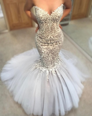 Delicate Appliques  Sexy Mermaid Wedding Dress | Sweetheart Neck Tulle Cheap Skirt Bridal Gowns_3