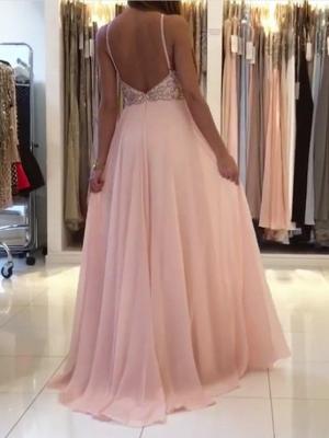 Pink Halter Long Prom Dress UK | Chiffon Evening Dress UK With Crystal_3