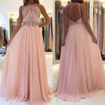 Pink Halter Long Prom Dress UK | Chiffon Evening Dress UK With Crystal_4