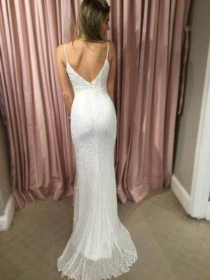 Elegant White Sequins Prom Dress UK Mermaid V-Neck On Sale BA7706_4