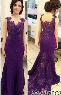 Lace-Appliques Sleeveless Long Purple Mermaid Evening Gowns_2