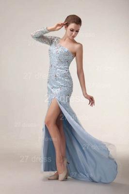 Elegant One Shoulder Tulle Prom Gowns Side Slit Crystal Evening Dress UKes UK_6