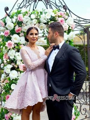 Hi-Lo Long-Sleeves Pink Applique Mini Lace V-Neck Homecoming Dress UKes UK_5