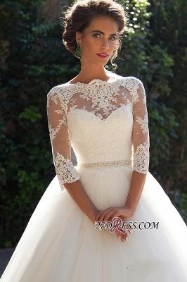 Half-Long-Sleeves Gown Lace Fall Elegant Ball Wedding Dresses UK BA3678_4