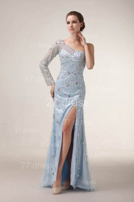 Elegant One Shoulder Tulle Prom Gowns Side Slit Crystal Evening Dress UKes UK_1