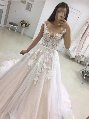 Elegant V-neck Lace Appliques Wedding Dress Tulle Wedding Reception Dress Online_1