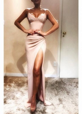 Elegant Spaghetti-Strap trumpt Prom Dress UK UKes | Sleeveless Side Slit Evening Gowns_1