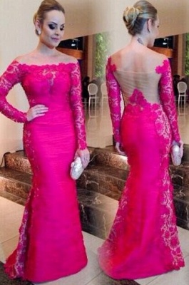 Newest Fuchsia Long Sleeve Mermaid Evening Dress UK Lace Off-the-shoulder_2