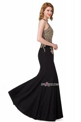 Mermaid Sleeveless Halter Crystal Black Elegant Appliques Prom Dress UK_2