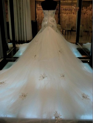 Gorgeous Sexy Mermaid Crystals Tulle Wedding Dress Long Train Sweetheart Sleeveless_3