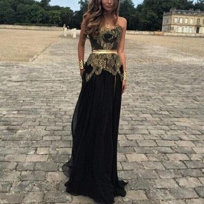 Elegant Sweetheart Gold Appliques Black Evening Dress UK Long On Sale_2