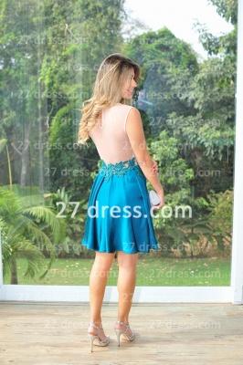 Vestidos Lindo Short Blue Prom Dress UK Sexy Cocktail Gowns Bateau Sleeveless Chiffon_3