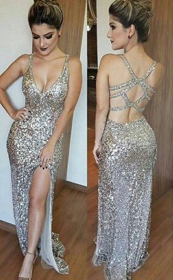 Gorgeous V-Neck Sleeveless Sequins Mermaid Prom Dress UK TH304_2