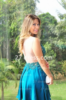 Vestidos Lindo Short Blue Prom Dress UK Sexy Cocktail Gowns Bateau Sleeveless Chiffon_2
