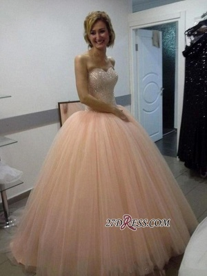 Sweetheart Ball-Gown Tulle Beautiful Sequins Evening Dress UK_3