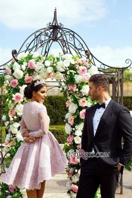 Hi-Lo Long-Sleeves Pink Applique Mini Lace V-Neck Homecoming Dress UKes UK_4