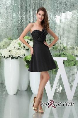 Bows Elegant Sleeveless Sweetheart A-Line Black Mini Bridesmaid Dress UKes UK_4