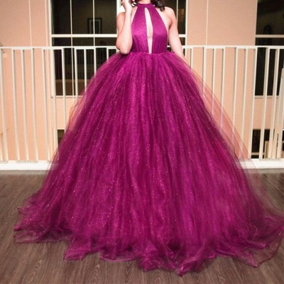 Luxury High-Neck Tulle Evening Dress UK Ball Gown Prom Dress UK_3