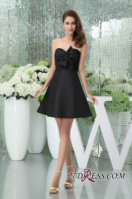 Bows Elegant Sleeveless Sweetheart A-Line Black Mini Bridesmaid Dress UKes UK_7