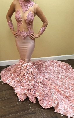 Long-Sleeve Pink Prom Dress UK | Lace Evening Gowns_1