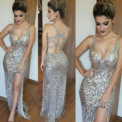 Gorgeous V-Neck Sleeveless Sequins Mermaid Prom Dress UK TH304_3