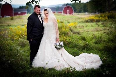 Lace Tulle Spaghetti-Strap Gorgeous Sweetheart Plus-Size Wedding Dress_1