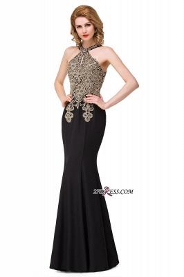 Mermaid Sleeveless Halter Crystal Black Elegant Appliques Prom Dress UK_3
