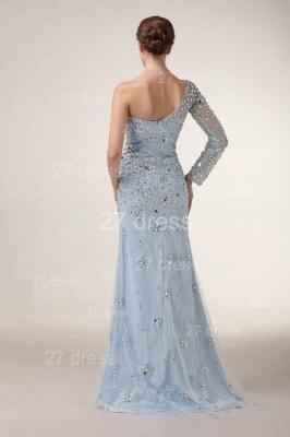 Elegant One Shoulder Tulle Prom Gowns Side Slit Crystal Evening Dress UKes UK_4