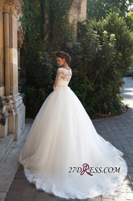 Half-Long-Sleeves Gown Lace Fall Elegant Ball Wedding Dresses UK BA3678_3