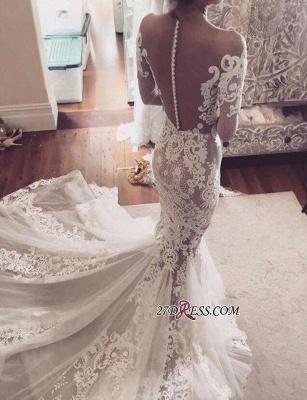 Sexy Mermaid Appliques Elegant Tulle Long-Sleeves Wedding Dress_2