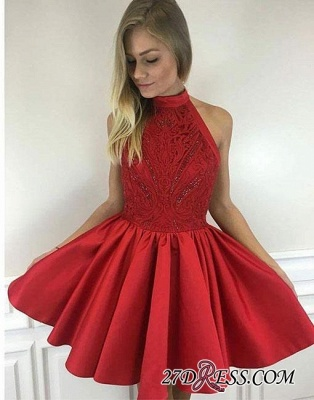 Cute A-line Short Red Beading High-neck Cocktail Dress UK_3