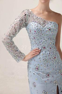 Elegant One Shoulder Tulle Prom Gowns Side Slit Crystal Evening Dress UKes UK_2