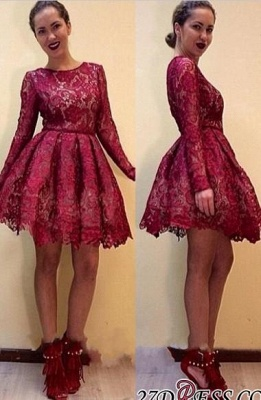 Short Burgundy Long-Sleeves A-line Lace Sexy Homecoming Dress UKes UK_3