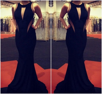 Elegant Black Sleeveless Mermaid Prom Dress UKes UK Floor Length_3