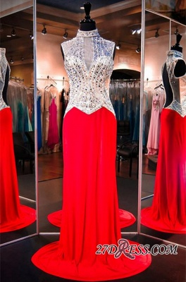 Sweep-Train Crystals High-Neck Sleeveless Red Newest Evening Dress UK_2