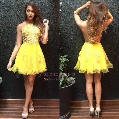 Long Ruffles Mini Appliques Sleeves Yellow Sweet Homecoming Dress UK_1