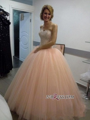 Sweetheart Ball-Gown Tulle Beautiful Sequins Evening Dress UK_2