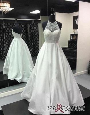 Back-zipper Long Beads White Halter Evening Dress UK_1