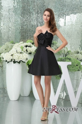 Bows Elegant Sleeveless Sweetheart A-Line Black Mini Bridesmaid Dress UKes UK_5