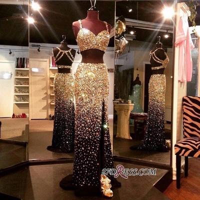 Sheath Crystals Side-Slit Two-Piece Sleeveless Black Luxury Prom Dress UKes UK BA5262_1