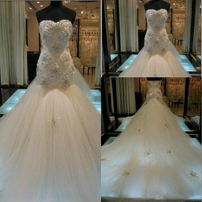 Gorgeous Sexy Mermaid Crystals Tulle Wedding Dress Long Train Sweetheart Sleeveless_4