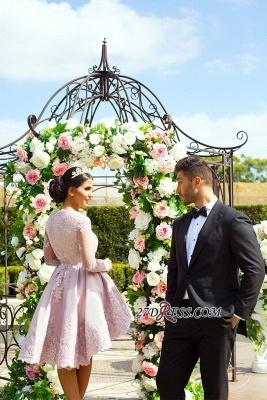 Hi-Lo Long-Sleeves Pink Applique Mini Lace V-Neck Homecoming Dress UKes UK_3